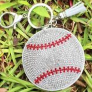 Crystal Baseball Tassel Charm Key chain